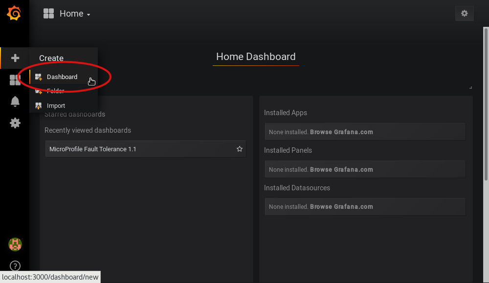 Screenshot of Grafana highlighting the new dashboard button on the left sidebar menu