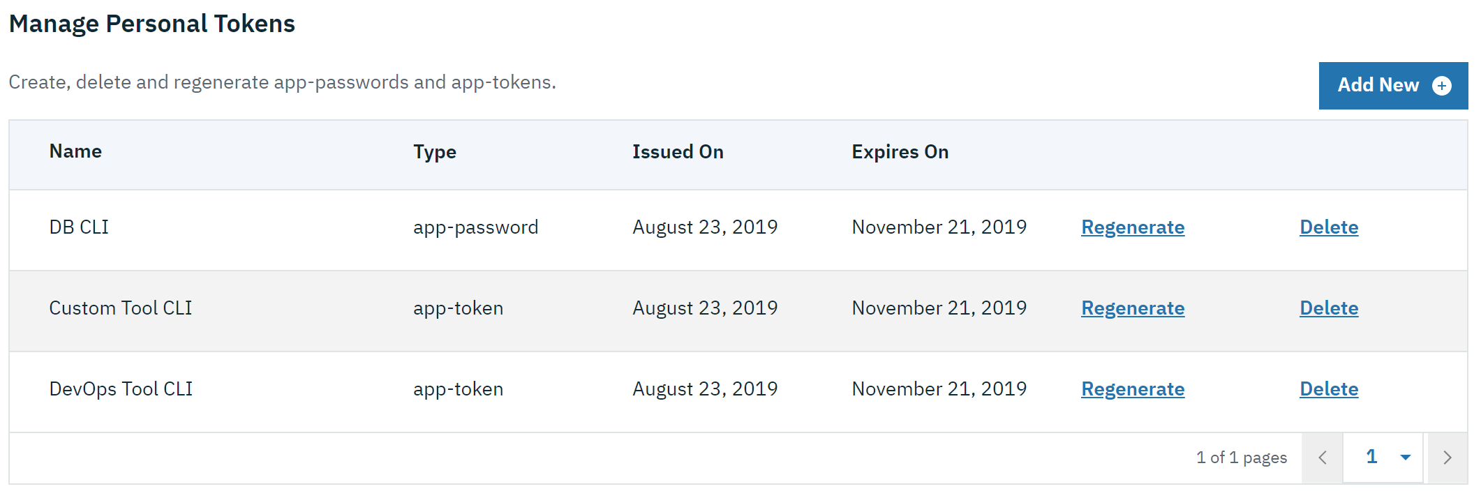 Manage personal tokens in Admin UI