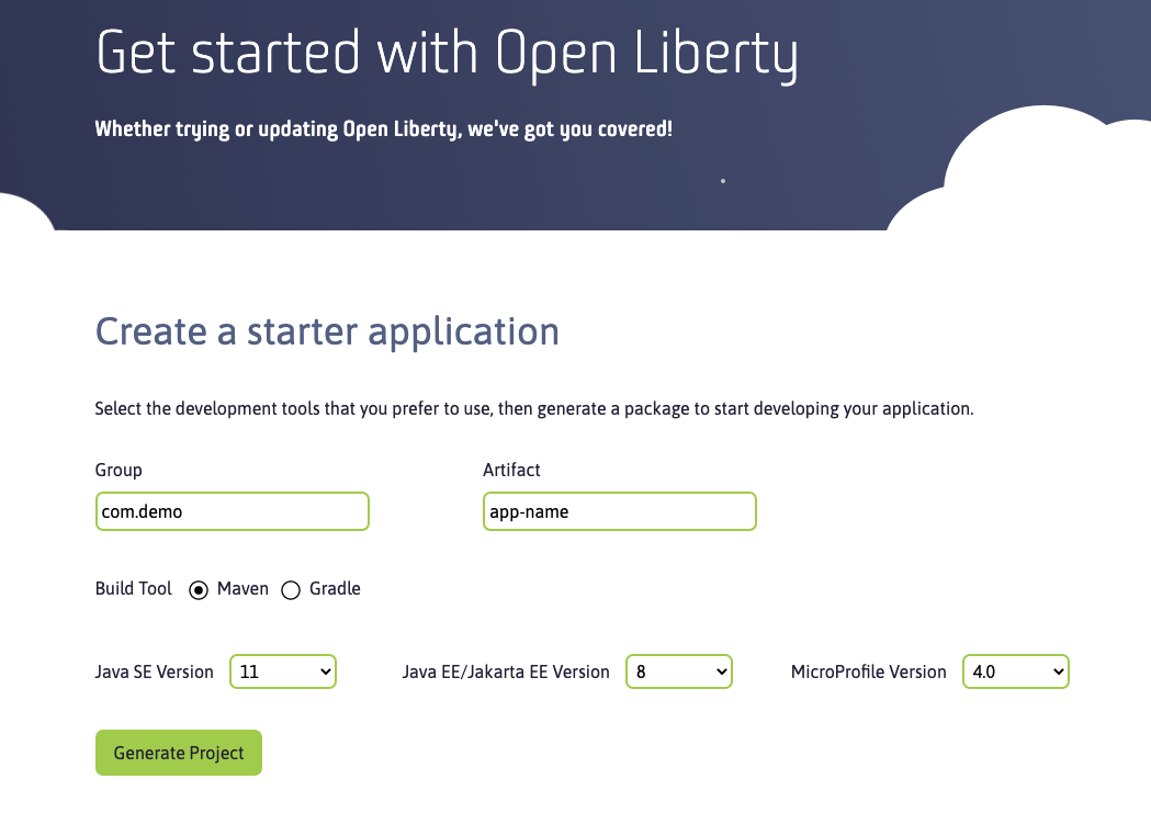 screen capture of the starter application options