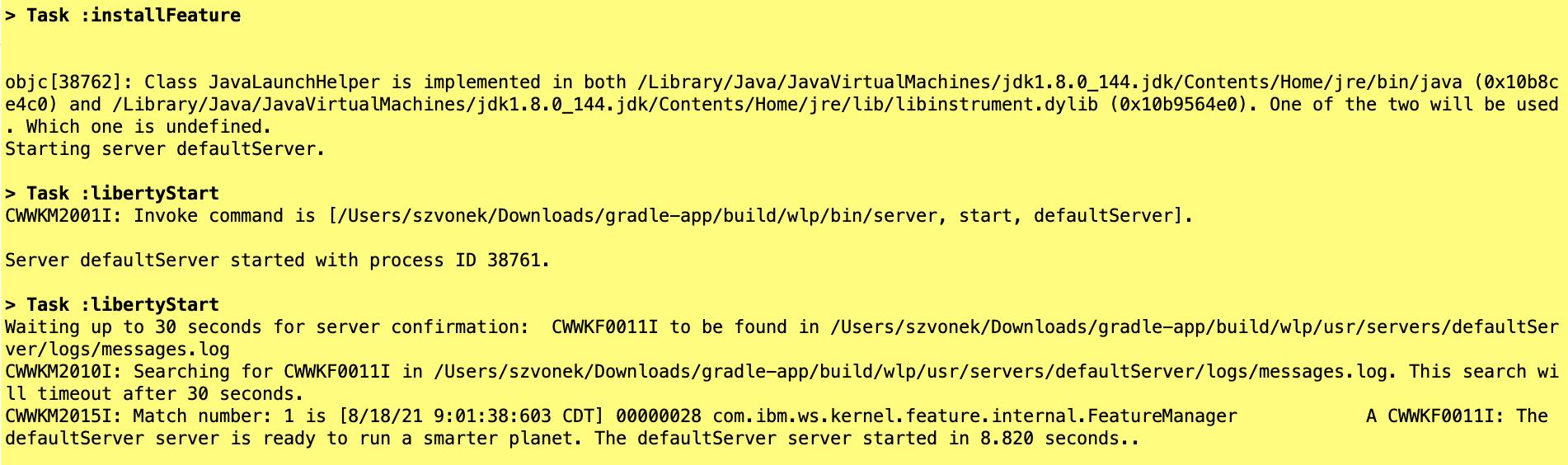 screen capture of the starter gradlew libertyStart output