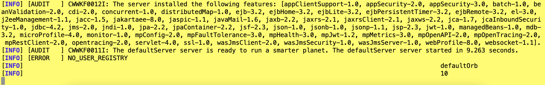 screen capture of the starter mvn liberty:run output